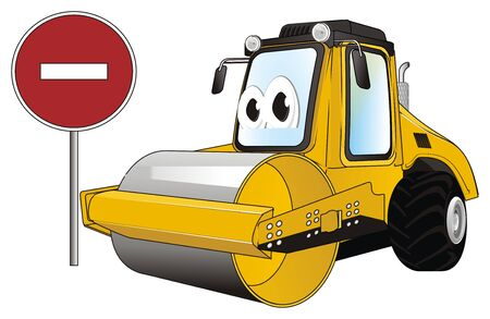 funny road roller with ban