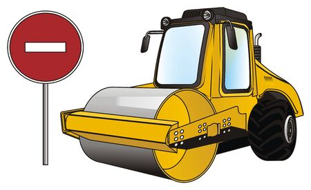 road roller and ban