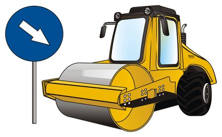 road roller and arrow