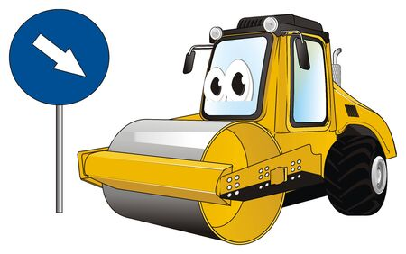 funny road roller and arrow