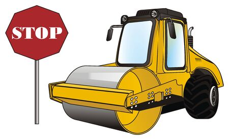 road roller and sign stop