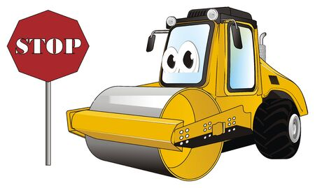 funny road roller and sign stop