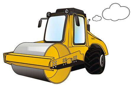 road roller with smoke