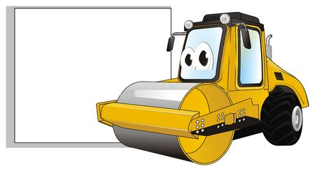 funny road roller and poster