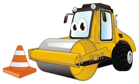 funny road roller and cone