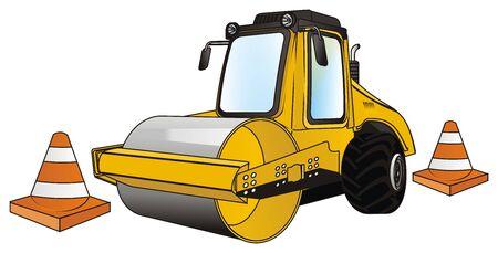 road roller with cones 写真素材