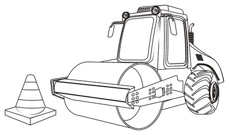 coloring road roller with cone