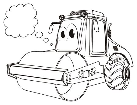 coloring road roller think