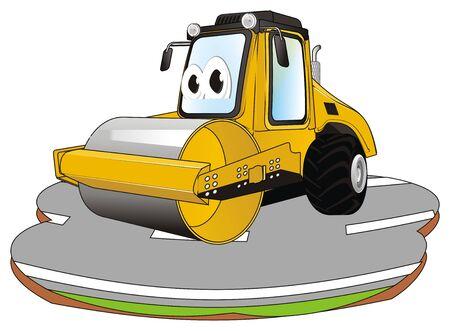 funny road roller on asphalt 写真素材