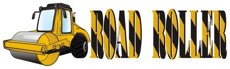road roller and striped letters