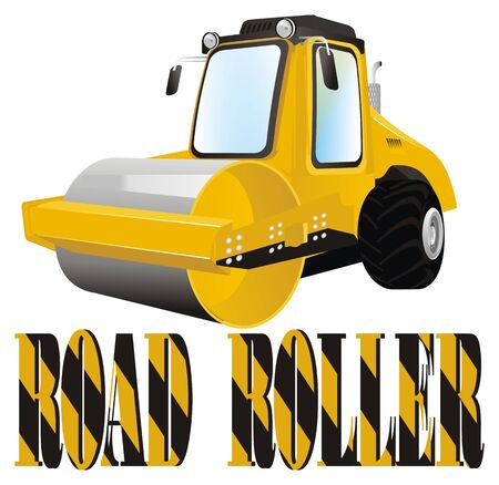 road roller and colored letters