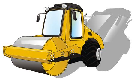 road roller with shadow