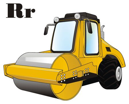 road roller and letters r 写真素材