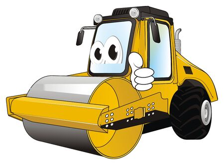 funny road roller with gesture