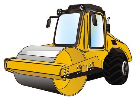 yellow road roller Stock fotó