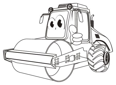 coloring funny road roller with class gesture