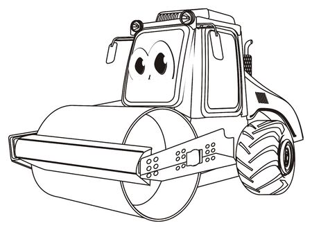 coloring funny road roller