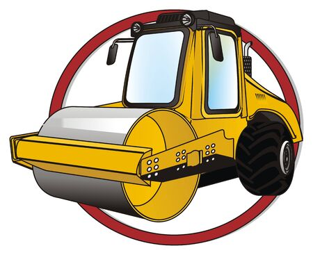 road roller on red sign