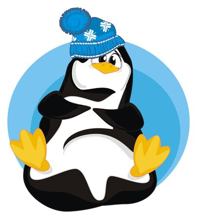 penguin in blue icon Stock fotó