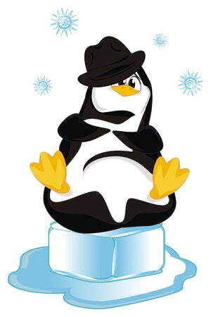 penguin in black hat