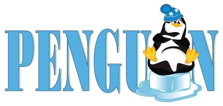 penguin and blue word