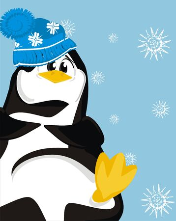 penguin and blue background