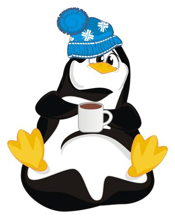 penguin with cup