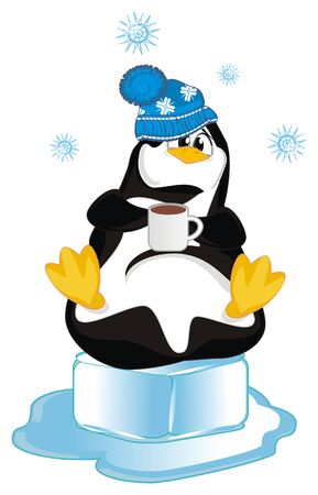 penguin with cup of coffee Stock fotó