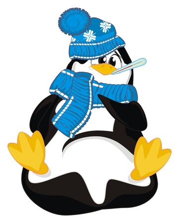 sick penguin in warm clothes