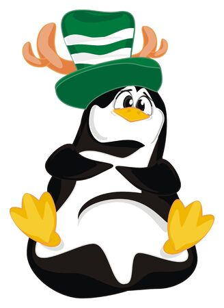 penguin in hat with deers horns