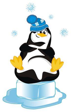 smileng penguin on ice