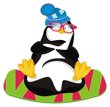 penguin with glasses and snowboard Stock fotó