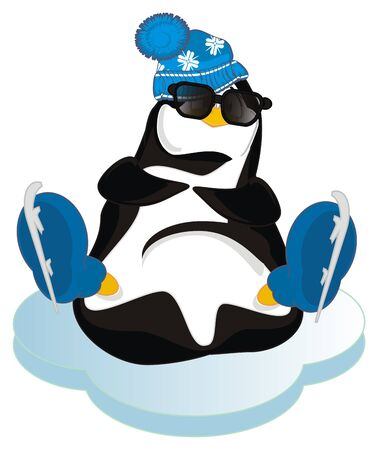 penguin in sunglasses with skates