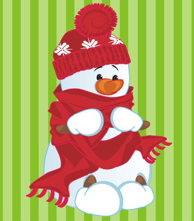 snowman on green background
