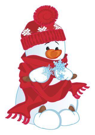 snowman hold a snowflakes