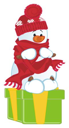 snowman sit top on gift