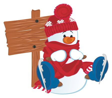 snowman and wooden banner Stock fotó