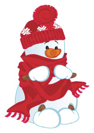 snowman in hat and scarf