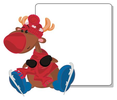 deer with skates and poster