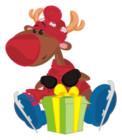 deer with skates and gift Stockfoto