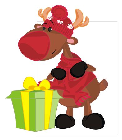 deer and large gift Stockfoto
