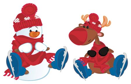 snowman and deer with skates