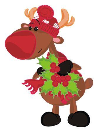 deer and christmas plant