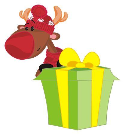 deer peek up from gift