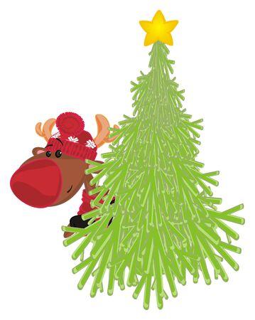 deer peek up from Christmas tree