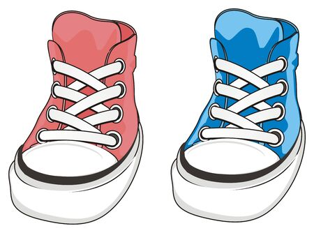 blue and pink gumshoes