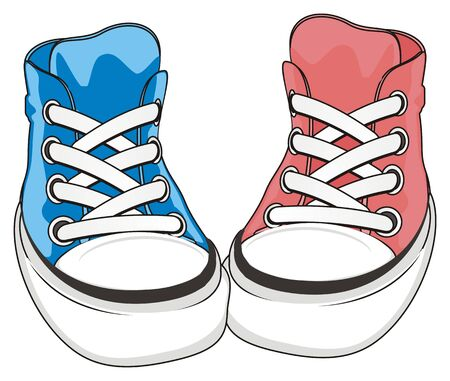pink and blue gumshoes