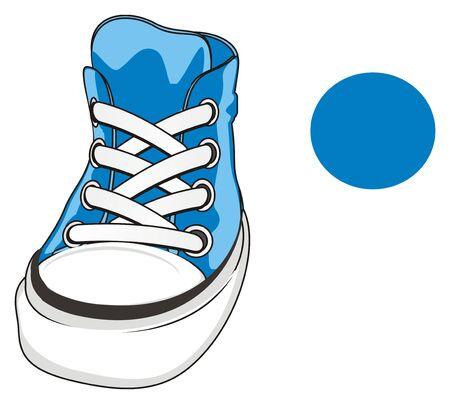 blue gumshoes and blue sign