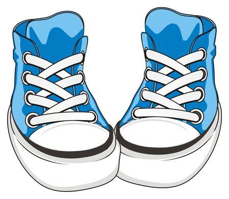 pair of blue gumshoes