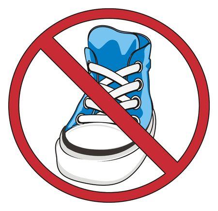 blue gumshoes on red ban
